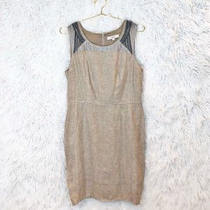 Loft linen beaded sheath dress